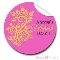 Flourish Florals Wedding Mehndi Personalised Favour Stickers, 1xA4 sheet