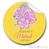 Paisley Floral Mehndi Wedding Celebrations Personalised Favour Stickers, 1xA4 sheet