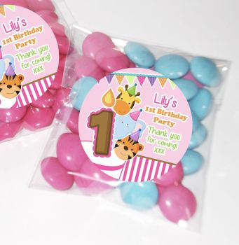 Animal Friends Girls Personalised BIRTHDAY PARTY sweet Treat bags favours KITS x12