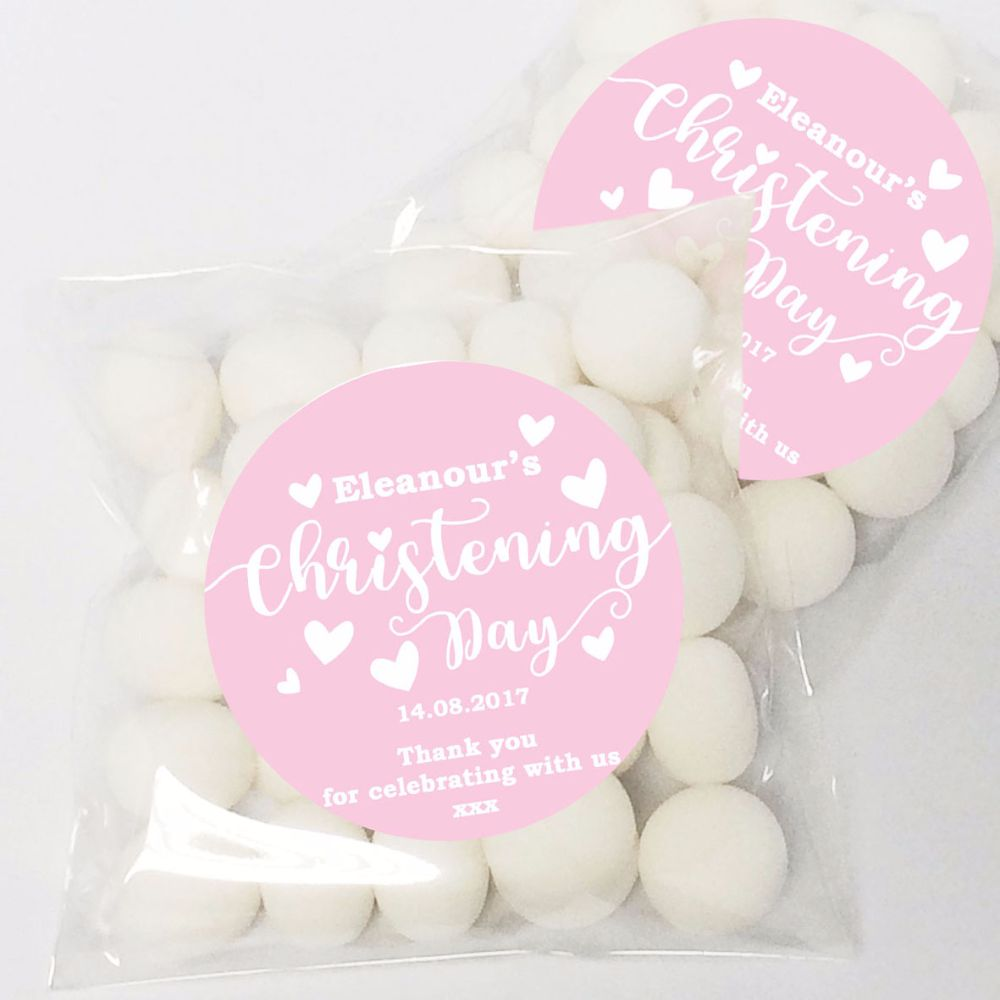 Personalised christening stickers and favours including christening ...