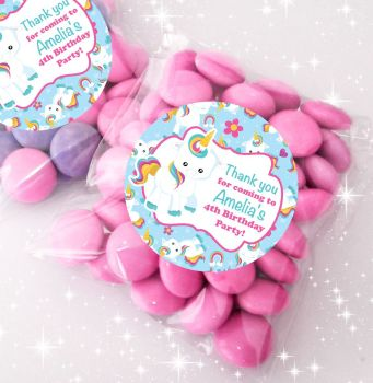 Baby Unicorn Personalised BIRTHDAY PARTY sweet Treat bags favours KITS x12