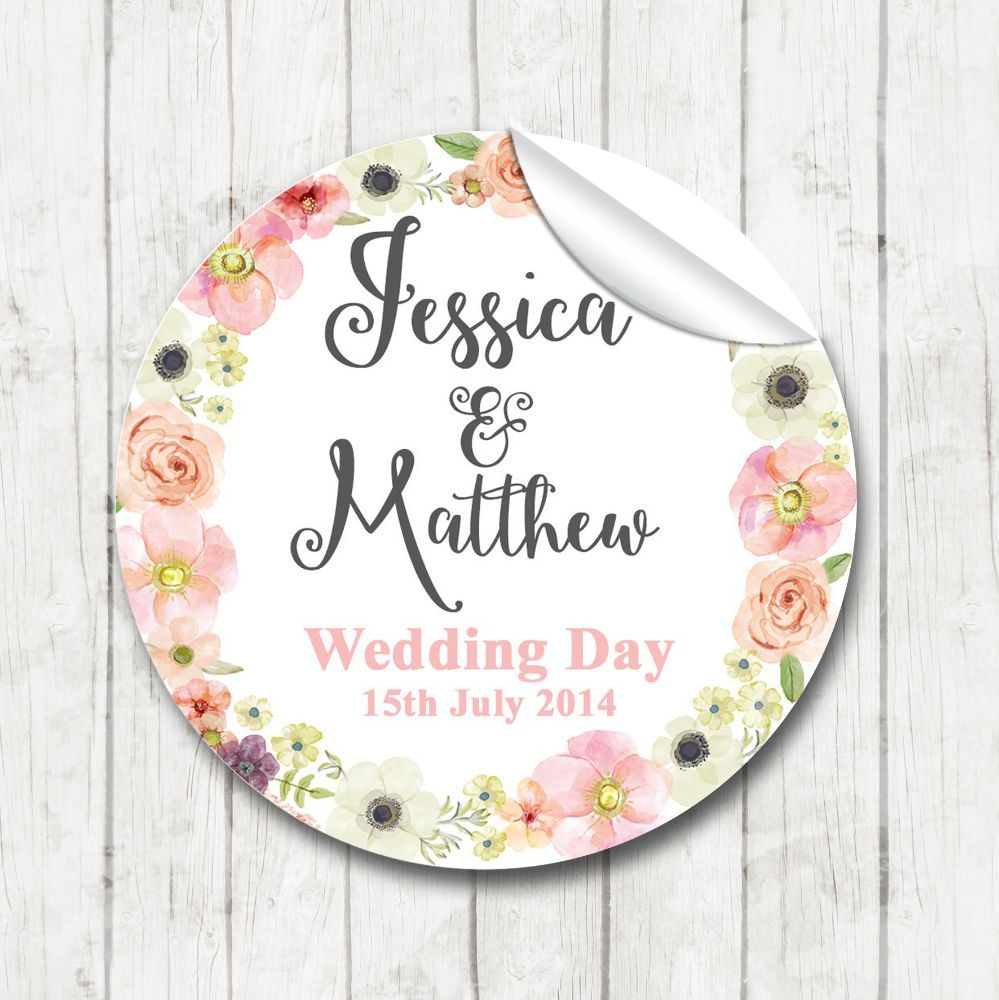 Personalised Wedding Favours Stickers