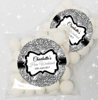 Silver Glitter Personalised Hen Party Sweet Bags & Stickers