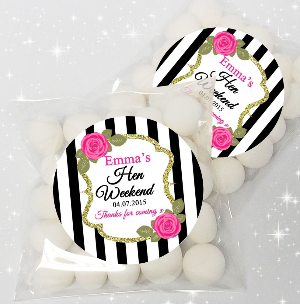 Black Stripe Roses Personalised HEN NIGHT party sweet bags favours KIT x12