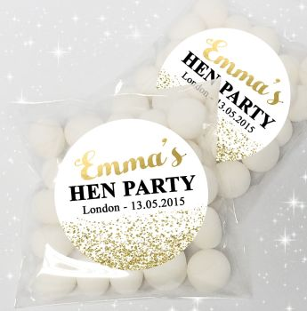Gold Glitter Confetti Personalised Hen Party Sweet Bags & Stickers