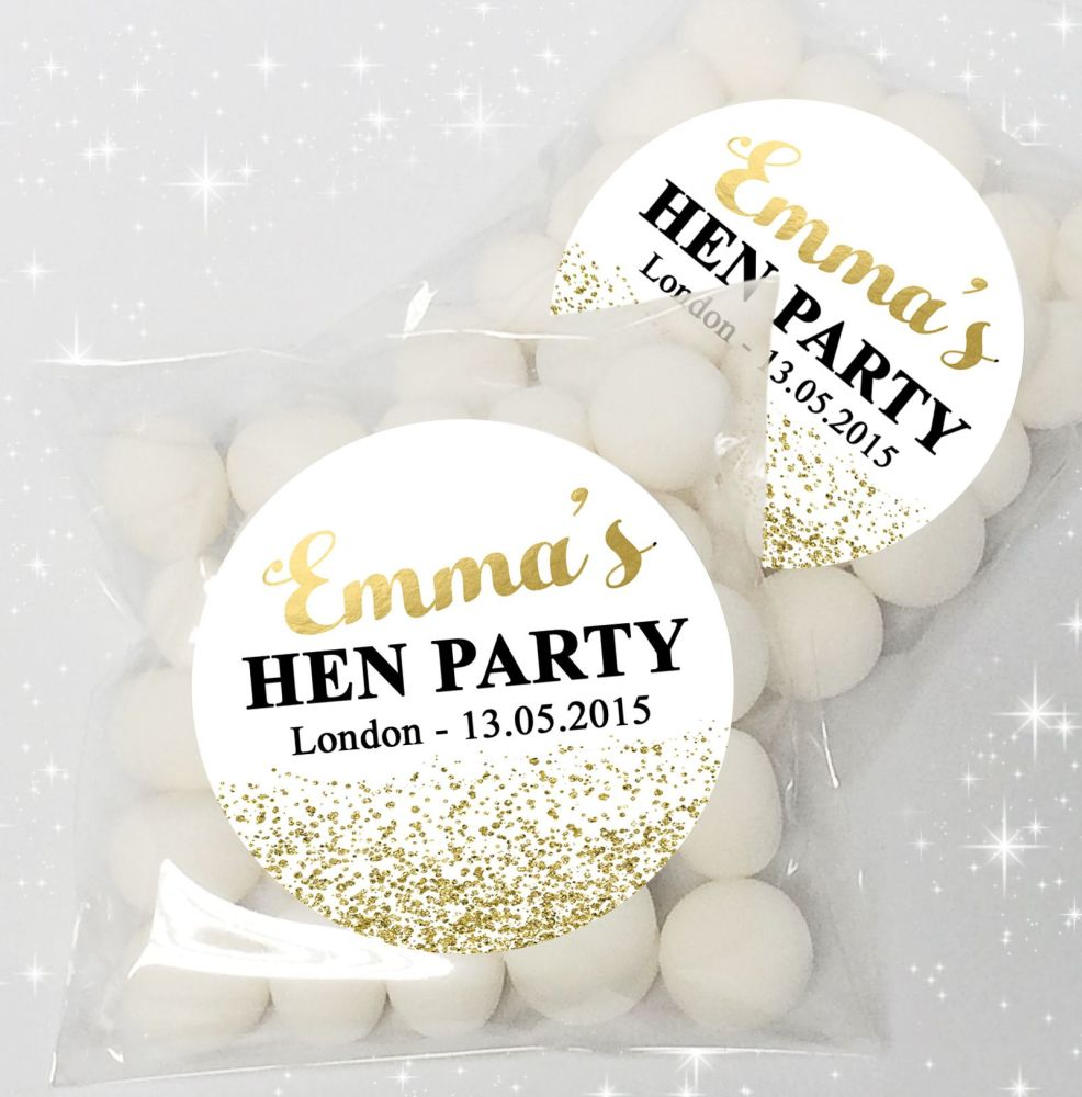 Gold Glitter Confetti Personalised HEN NIGHT party sweet bags favours KIT x