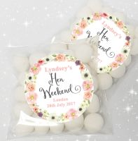 Jessica Watercolour Flowers Personalised HEN NIGHT party sweet bags favours KIT x12