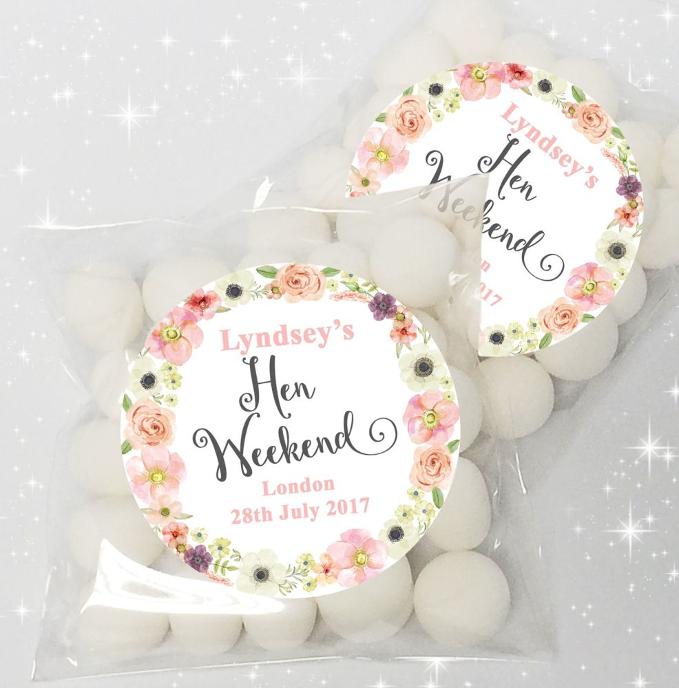 Jessica Watercolour Flowers Personalised HEN NIGHT party sweet bags favours