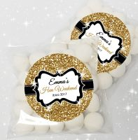 Gold Glitter Personalised Hen Party Sweet Bags & Stickers