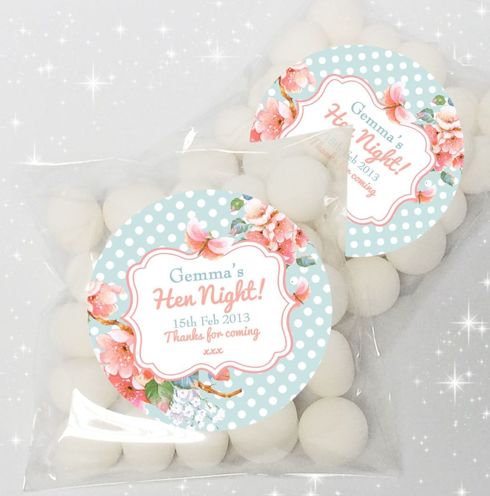 Vintage Florals Personalised HEN NIGHT party sweet bags favours KIT x12