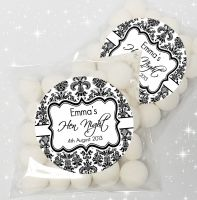 Elegant Damask Personalised Hen Party Sweet Bags & Stickers