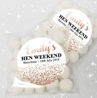 Rose Gold Glitter Confetti Personalised Hen Party Sweet Bags & Sticker