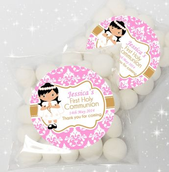 Girl Black Hair Personalised Holy Communion sweet bags favours kits x12