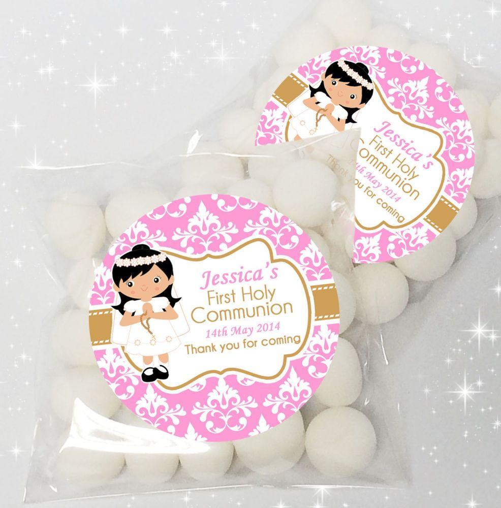 Black Hair Girl Personalised Holy Communion sweet bags favours x12