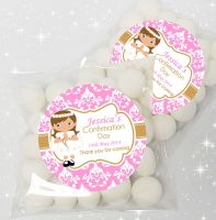 Girl Brown Hair Personalised Holy Communion sweet bags favours kits x12
