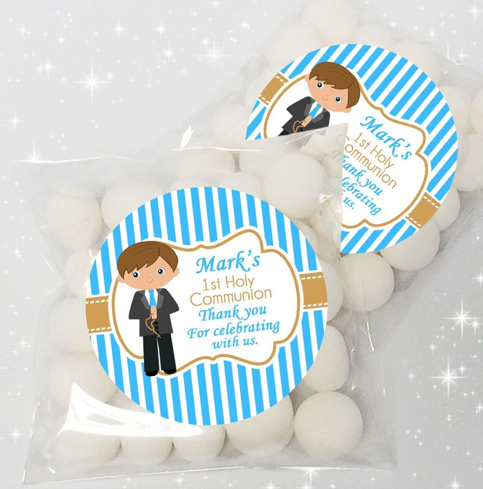 Boy (Brown Hair) Personalised Holy Communion party sweet bags favours  x12