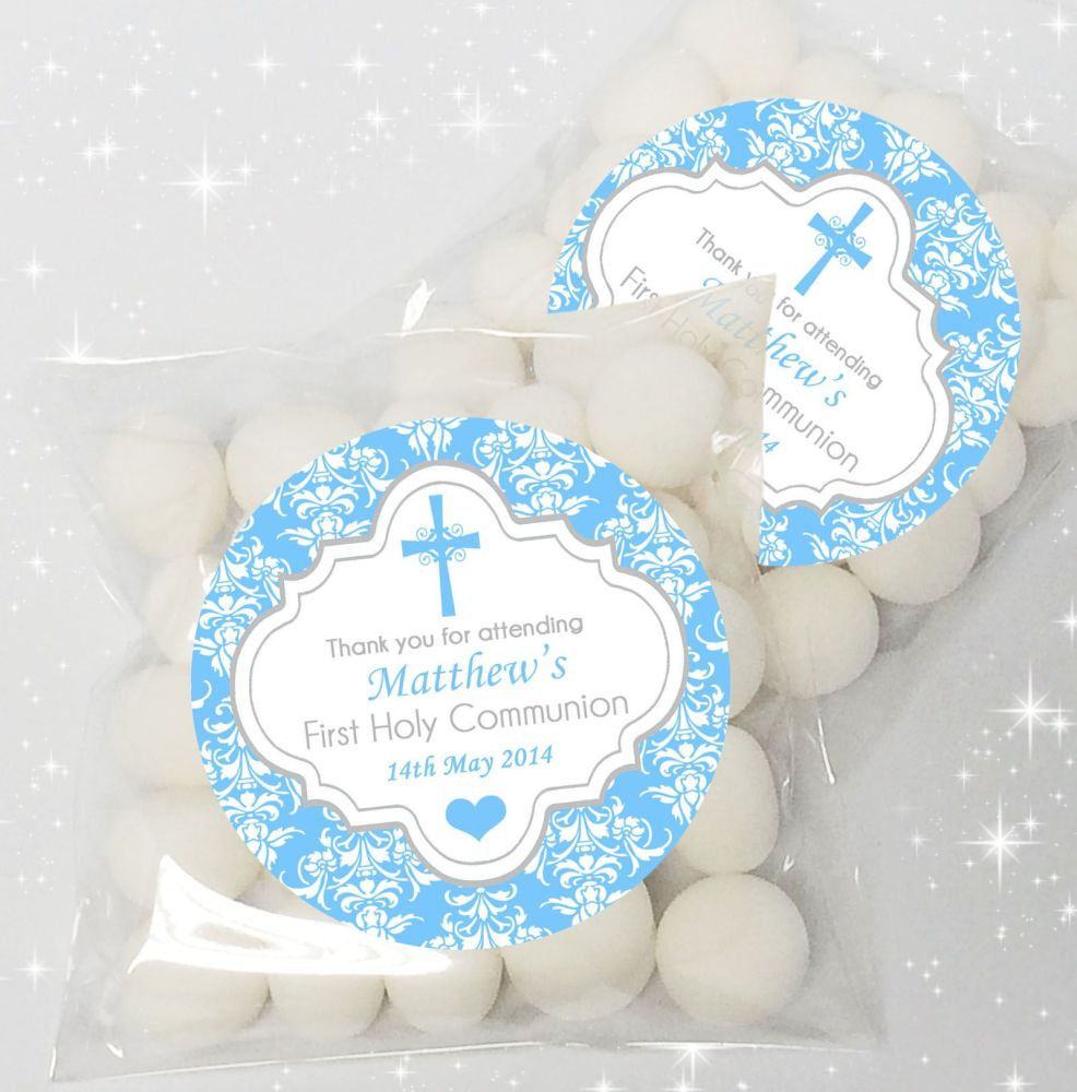 Damask Cross Blue Personalised Holy Communion party sweet bags favours  x12