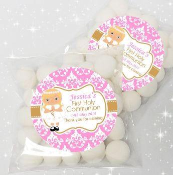 Girl Blonde Hair Personalised Holy Communion sweet bags favours kits x12