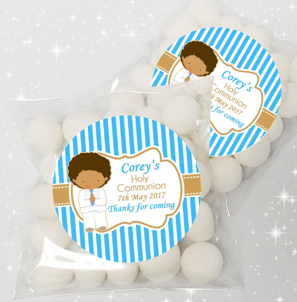 Boy White Suit Personalised Holy Communion party sweet bags favours  x12