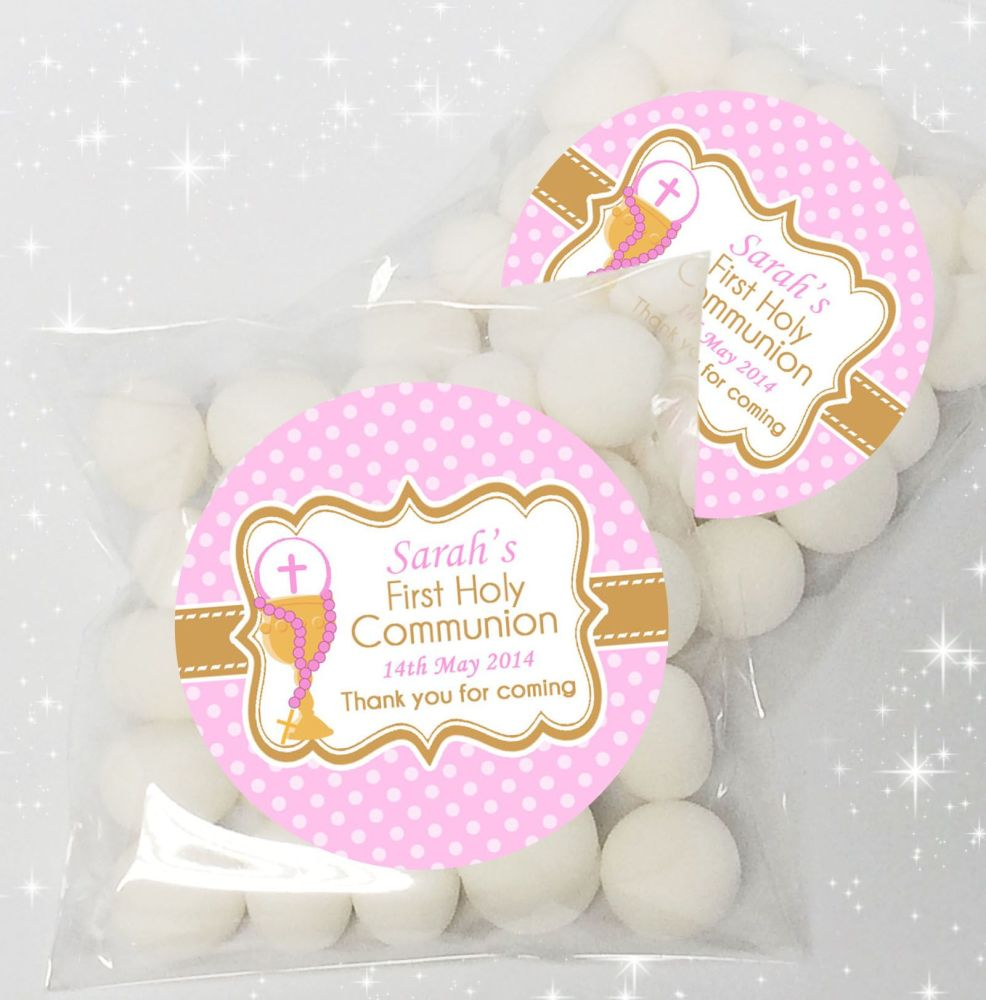 Polka dots pink Personalised Holy Communion sweet bags favours x12