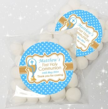 Chalice & Beads Boys Personalised Holy Communion sweet bags favours kits x12