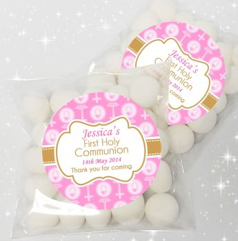 Candles & Beads Pink Personalised Holy Communion sweet bags favours kits x12
