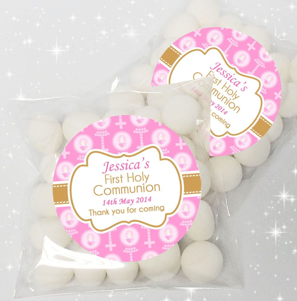 Candles & Holy Beads Pink Personalised Holy Communion sweet bags favours x1
