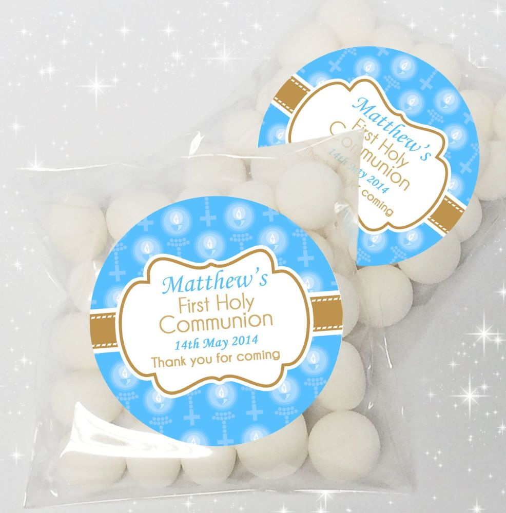 Candles & Holy Beads Blue Personalised Holy Communion sweet bags favours x1
