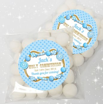 Candy sweets Blue Personalised Holy Communion sweet bags favours kits x12