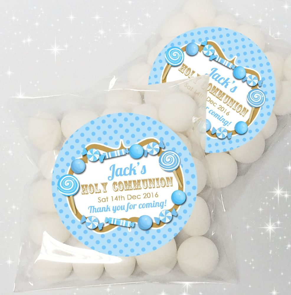 Candy sweets Blue Personalised Holy Communion party sweet bags favours  x12
