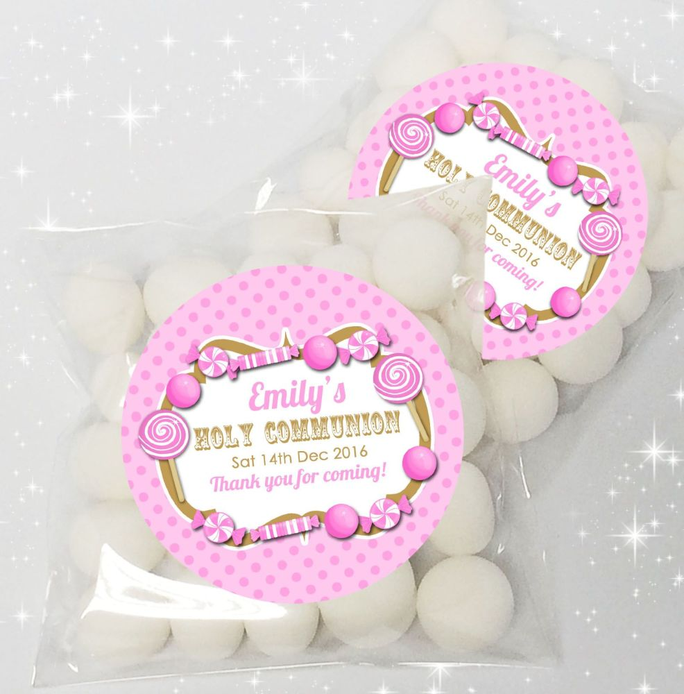 candy sweets pink personalised holy communion favours sweet bags ...
