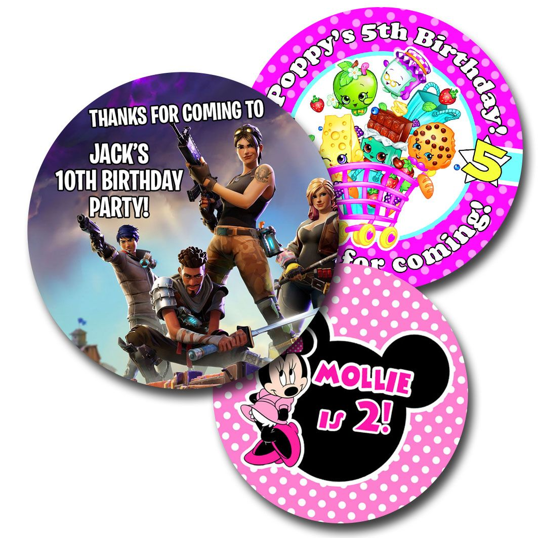Custom character party birthday party childrens party bag labels stickers minnie mouse stickers fornite stickers frozen stickers princess stickers