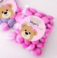 Teddy Bear Pink personalised BIRTHDAY party bags fillers sweet bags KITS x12