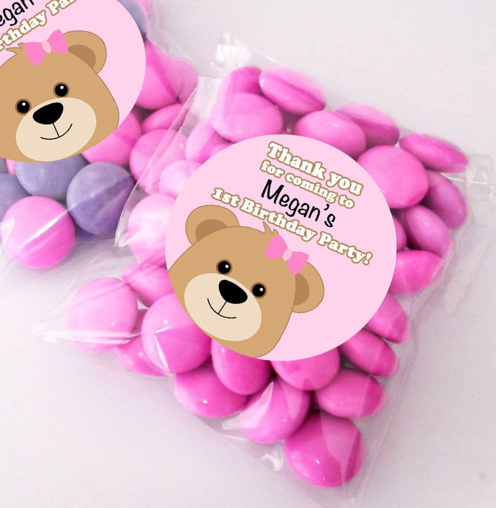 Teddy Bear Pink personalised BIRTHDAY party bags fillers sweet bags KITS x1