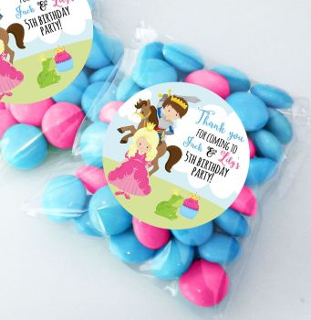 Prince & Princess Personalised Birthday Sweet bags party bags fillers KITS x12