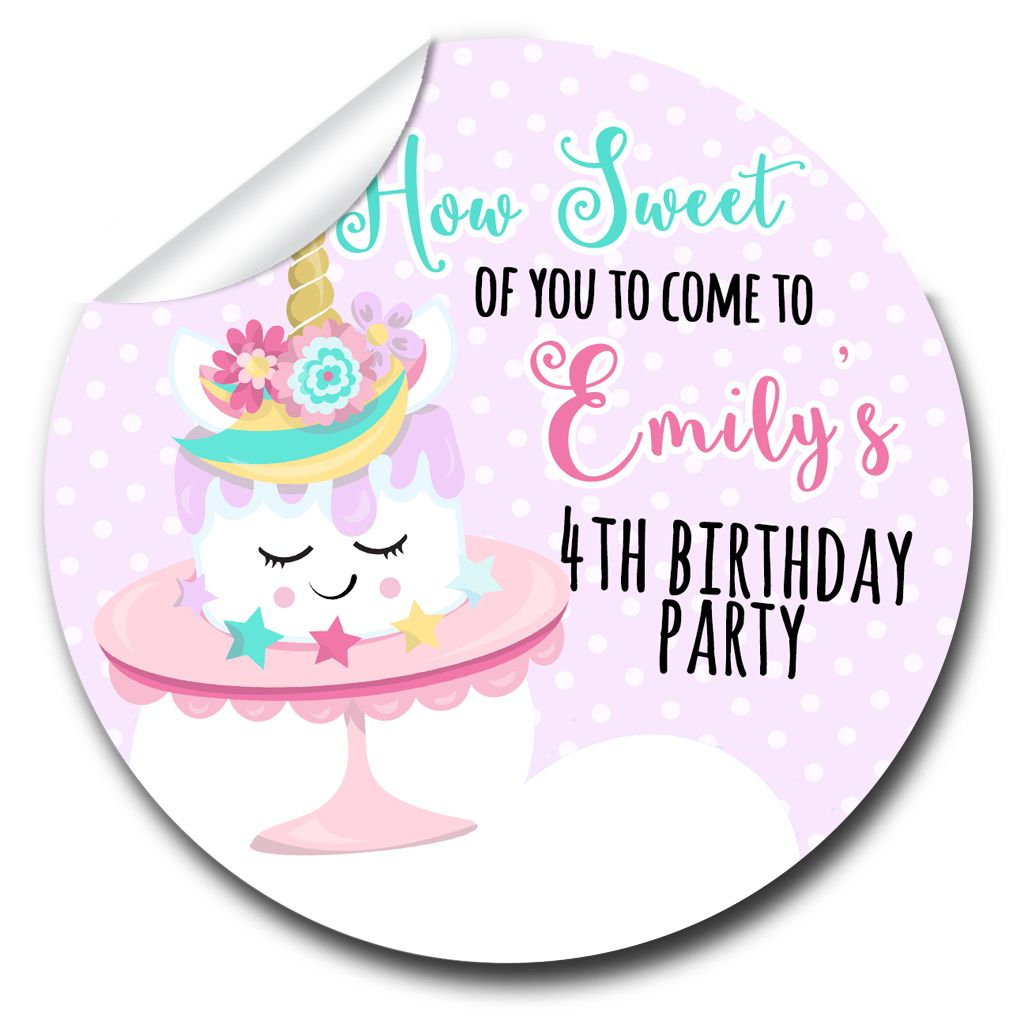 Kids Birthday Party Stickers Labels Unicorn Cake