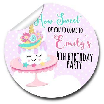 Kids Birthday Party Stickers Labels Unicorn Cake