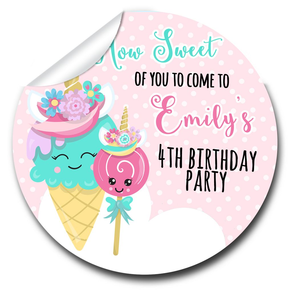 Kids Birthday Party Stickers Labels Unicorn Ice Creams