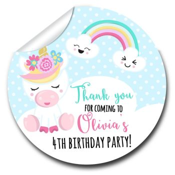 Unicorn & Rainbow Personalised Birthday party stickers 1x A4 sheet