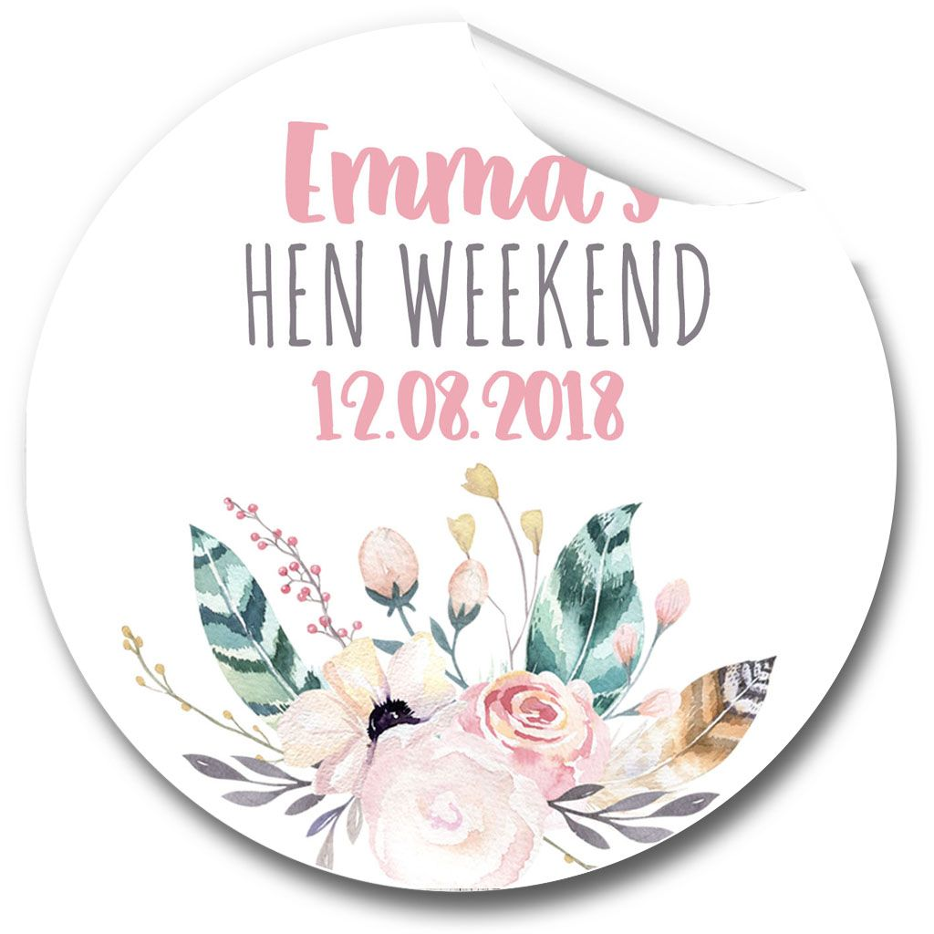 Boho Feather Wreath Personalised Hen Night Party Bag Stickers, 1 x A4 sheet