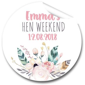 Boho Feather Wreath Personalised Hen Party Bag Stickers