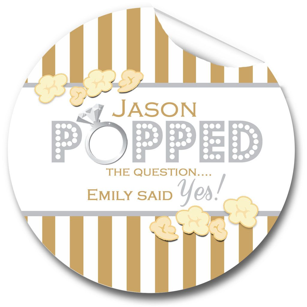 Popcorn Striped Personalised Engagement Party Stickers 1xA4 sheet