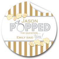 Carnival Stripes Personalised Engagement Party Stickers 1xA4 sheet