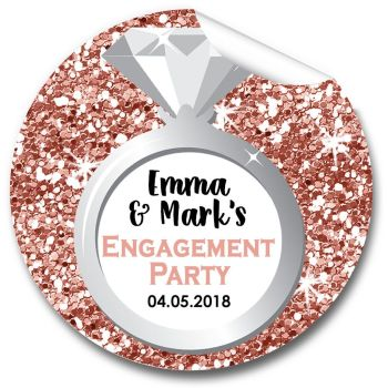 Ring Rose Gold Glitter Engagement Personalised Stickers 1xA4 sheet