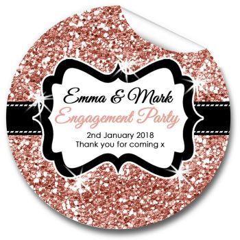 Rose Gold Glitter Personalised Engagement Party Stickers 1xA4 sheet