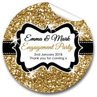 Gold Glitter Personalised Engagement Party Stickers 1xA4 sheet
