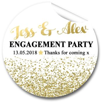 Gold Glitter Confetti Personalised Engagement Party Stickers 1xA4 sheet