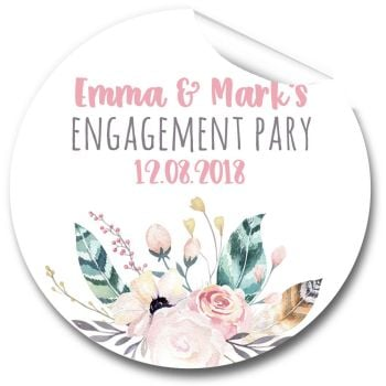 Boho Floral Feathers Personalised Engagement Party Stickers 1xA4 sheet