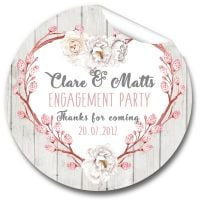 Rustic Floral Heart Personalised Engagement Party Stickers 1xA4 sheet