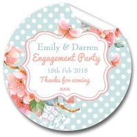Polka Dot Florals Personalised Engagement Party Stickers 1xA4 sheet